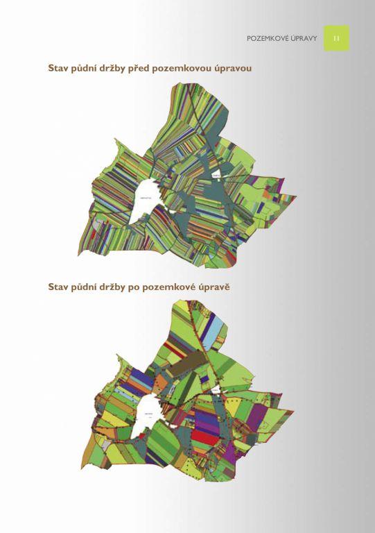 Ilustrativní obrázek před a po pozemkových úpravách